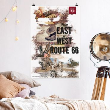 Poster - Route 66 - Collage East to West - Hochformat 3:2