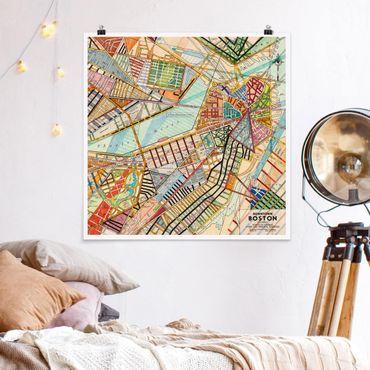Poster - Moderne Karte von Boston - Quadrat 1:1