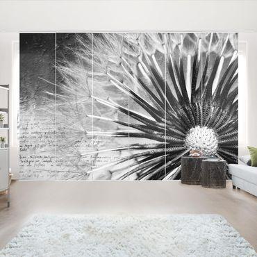 Schiebegardinen Set - Pusteblume Schwarz & Weiß - Flächenvorhänge