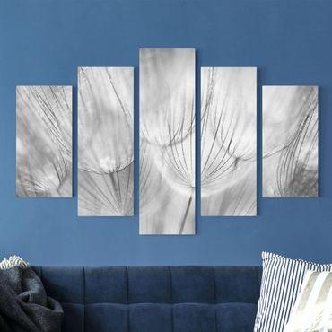 Leinwandbild 5-teilig - Pusteblumen Makroaufnahme in schwarz-weiss