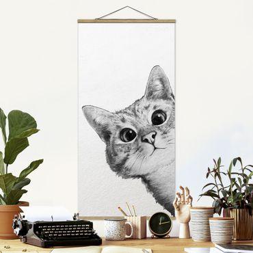 Stoffbild mit Posterleisten - Laura Graves - Illustration Katze Zeichnung Schwarz Weiß - Hochformat 1:2