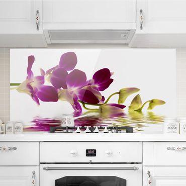 Spritzschutz Glas - Pink Orchid Waters - Querformat - 2:1