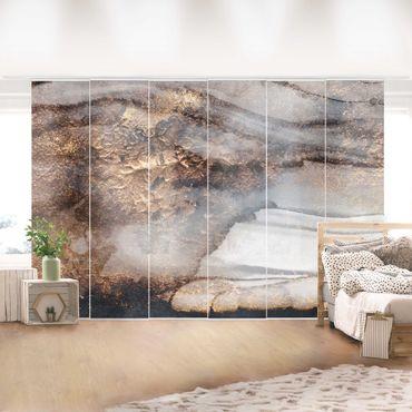 Schiebegardinen Set - Elisabeth Fredriksson - Goldener Marmor gemalt - 6 Flächenvorhänge