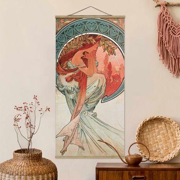 Stoffbild mit Posterleisten - Alfons Mucha - Vier Künste - Die Poesie - Hochformat 1:2