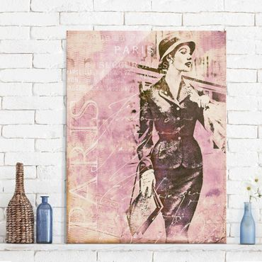 Glasbild - Vintage Collage - Pariserin - Hochformat 4:3