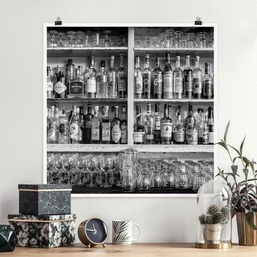Poster - Bar Schwarz Weiß - Quadrat 1:1