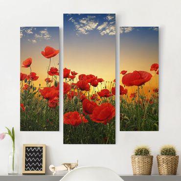 Leinwandbild 3-teilig - Mohnblumenfeld im Sonnenuntergang - Galerie Triptychon
