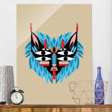 Glasbild - Collage Ethno Maske - Löwe - Hochformat 4:3