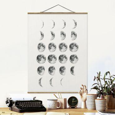 Stoffbild mit Posterleisten - La Luna - Hochformat 4:3