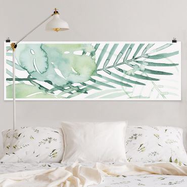 Poster - Palmwedel in Wasserfarbe I - Panorama Querformat