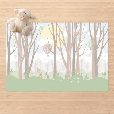 Vinyl-Teppich - Sonne mit Bäumen und Heißluftballons - Querformat 3:2