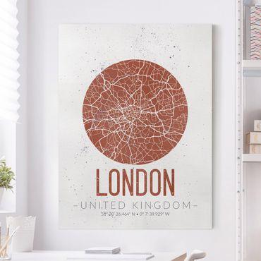 Leinwandbild - Stadtplan London - Retro - Hochformat 4:3