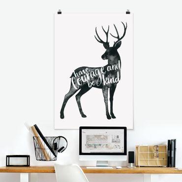Poster - Tiere mit Weisheit - Hirsch - Hochformat 3:2