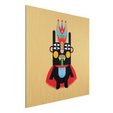 Aluminium Print gebürstet - Collage Ethno Monster - König - Quadrat 1:1