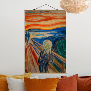 Stoffbild mit Posterleisten - Edvard Munch - Der Schrei - Hochformat 2:3