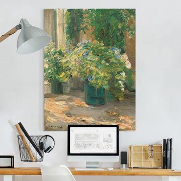 Leinwandbild - Max Liebermann - Blumentöpfe vor dem Haus - Hochformat 4:3