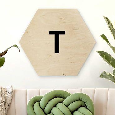Hexagon Bild Holz - Buchstabe Weiß T