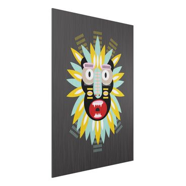 Aluminium Print gebürstet - Collage Ethno Maske - King Kong - Hochformat 4:3