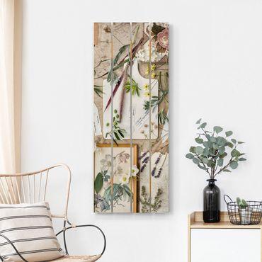 Holzbild - Blumen und Gartenkräuter Vintage - Hochformat 5:2