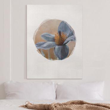 Leinwandbild - Wasserfarben - Kuhschelle in Blau - Hochformat 4:3