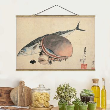 Stoffbild mit Posterleisten - Katsushika Hokusai - Makrele und Seemuscheln - Querformat 3:2