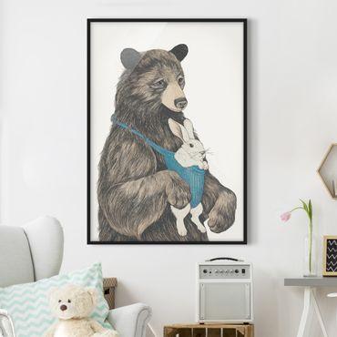 Bild mit Rahmen - Illustration Bär und Hase Baby - Hochformat 4:3