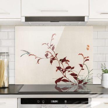 Spritzschutz Glas - Asiatische Vintage Zeichnung Roter Zweig mit Libelle - Querformat 3:4