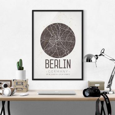 Bild mit Rahmen - Stadtplan Berlin - Retro - Hochformat 3:4