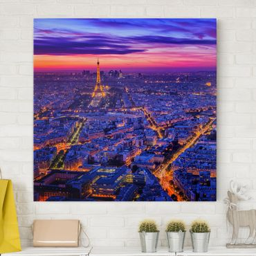 Leinwandbild - Paris bei Nacht - Quadrat 1:1