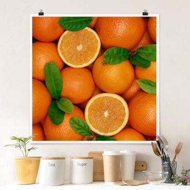 Poster - Saftige Orangen - Quadrat 1:1