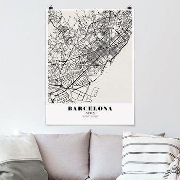 Poster - Stadtplan Barcelona - Klassik - Hochformat 3:4
