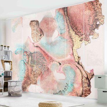Schiebegardinen Set - Elisabeth Fredriksson - Goldenes Aquarell Rosé - 6 Flächenvorhänge