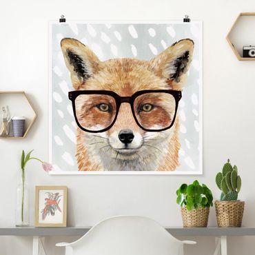 Poster - Bebrillte Tiere - Fuchs - Quadrat 1:1