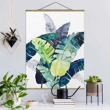 Stoffbild mit Posterleisten - Exotisches Blattwerk - Banane - Hochformat 4:3