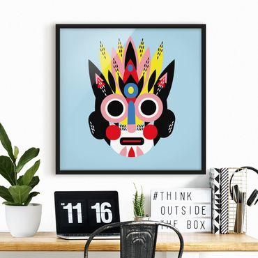 Bild mit Rahmen - Collage Ethno Maske - Gesicht - Quadrat 1:1