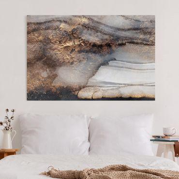 Leinwandbild - Goldener Marmor gemalt - Querformat 2:3