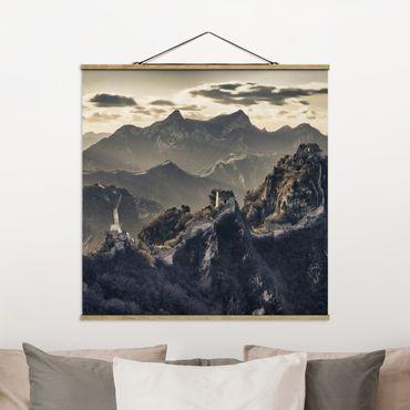 Stoffbild mit Posterleisten - Die große chinesische Mauer - Quadrat 1:1