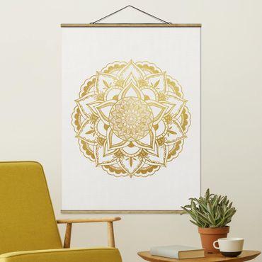 Stoffbild mit Posterleisten - Mandala Illustration Ornament weiß gold - Hochformat 3:4