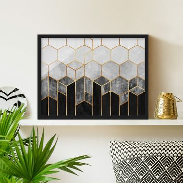 Bild mit Rahmen - Goldene Sechsecke Schwarz Weiß - Querformat 3:4