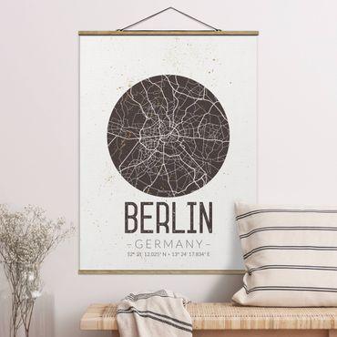 Stoffbild mit Posterleisten - Stadtplan Berlin - Retro - Hochformat 4:3