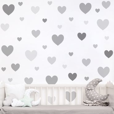 Wandtattoo mehrfarbig Kinderzimmer - 85 Herzen Grau Set