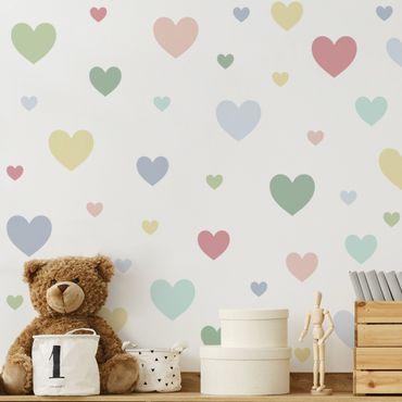 Wandtattoo mehrfarbig Kinderzimmer - 85 Herzen Pastell Set