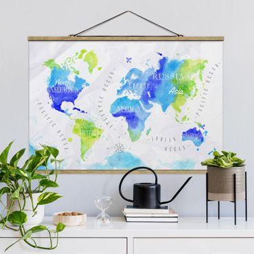 Stoffbild mit Posterleisten - Weltkarte Aquarell blau grün - Querformat 2:3