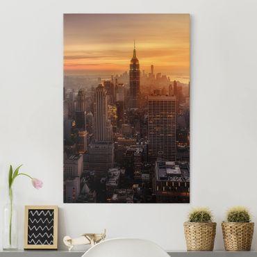 Leinwandbild - Manhattan Skyline Abendstimmung - Hochformat 4:3