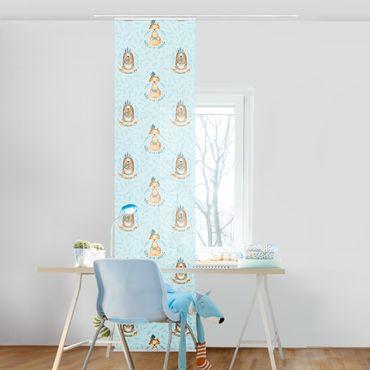 Schiebegardinen Set - Bären und Füchse vor Blau - 6 Flächenvorhänge