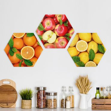 Hexagon Bild Alu-Dibond 3-teilig - Frische Früchte