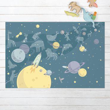 Vinyl-Teppich - Planeten mit Sternzeichen und Raketen - Querformat 3:2