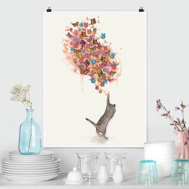 Poster - Illustration Katze mit bunten Schmetterlingen Malerei - Hochformat 4:3