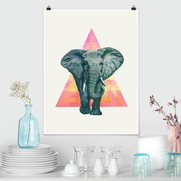 Poster - Illustration Elefant vor Dreieck Malerei - Hochformat 4:3