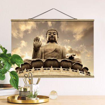 Stoffbild mit Posterleisten - Großer Buddha Sepia - Querformat 3:2